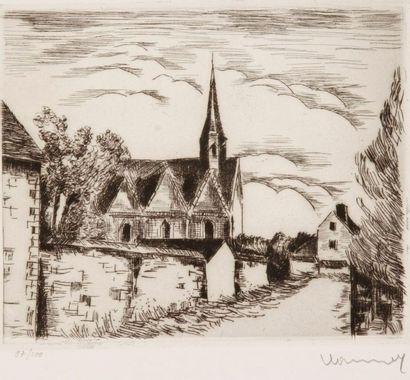 Maurice de Vlaminck (1876-1958) L'Église de Beauche. 1926. Pointe sèche. 212 x 171....