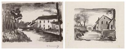 Maurice de Vlaminck (1876-1958) Le Moulin de la Naze; Nelle-la-Vallée, maisons rustiques....