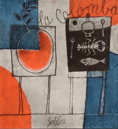 DIVERS  Menus pour le restaurant « La Colomba » à Venise. 1960. Illustrés de reproductions...