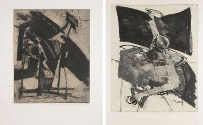 Albert BITRAN [franco-turc] (né en 1929) Compositions, 1976 2 eaux-fortes et aquatintes....