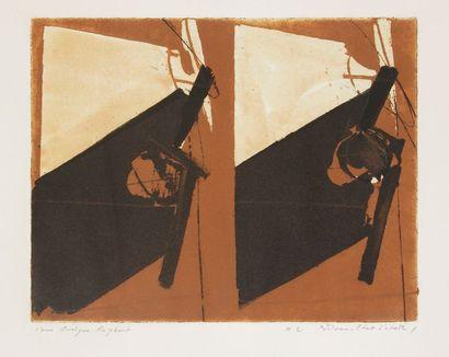 Albert BITRAN [franco-turc] (né en 1929) Composition Aquatinte. Signée, annotée HC...