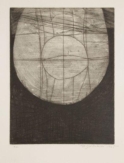 Pierre DMITRIENKO (1925-1974) Présence I, 1965 Eau-forte. Signée, datée et annotée...