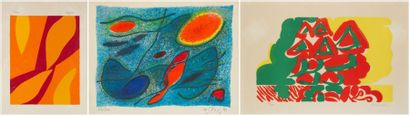 Jean BAZAINE - Gustave SINGIER - Yasse TABUCHI Composition 3 lithographies. Signées...