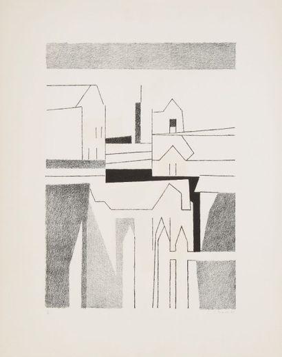 André BEAUDIN (1895-1979) La Ville, 1956 Lithographie. Signée, datée et numérotée...