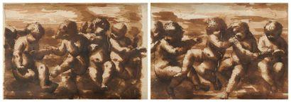 Attribué à Leonardo SCAGLIA (vers 1610 - vers 1660) Jeux de putti Paire de dessins,...