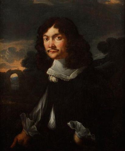 École ITALIENNE vers 1650 Portrait d'homme sur fond de paysage Toile. 89 x 73 cm...