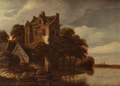 École FLAMANDE de la fin du XVIIe siècle, suiveur de Thomas HEEREMANS Chaumière en...