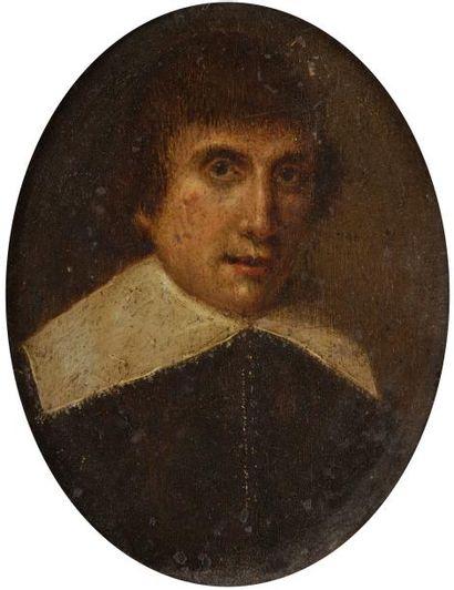 École Flamande du XVIIe siècle Portrait d'un jeune homme à la collerette Cuivre ovale....