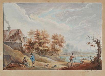 Lot de deux dessins:<BR>AUGUSTIN<BR>(Actif à la fin du XVIIIe siècle)