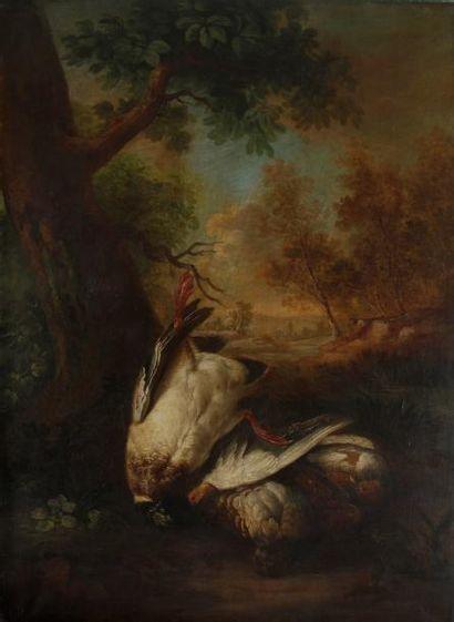 École FRANÇAISE de la fin du XVIIIe siècle Gibier dans un paysage Toile. 115 x 84,5...