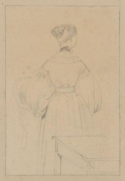 Ecole Francaise vers 1840 Une élégante de dos Crayon noir 22 x 14,7 cm