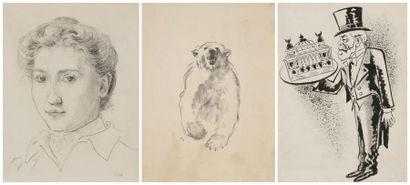 Ecole française des XIXe et XXe siècles Dont un dessin de LAPITO 11 dessins: Portraits,...