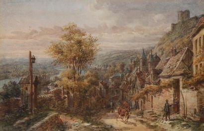 École Française du XIXe siècle Troupeau dans une ruelle de village de montagne Plume...