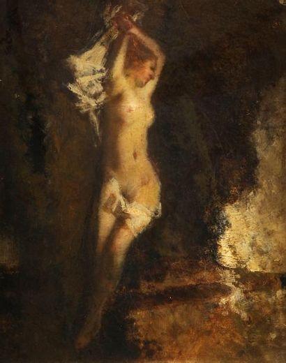 École Française du XIXe siècle Nymphe endormie dans un sous-bois Sur sa toile d'origine....
