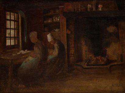 École Française du XIXe siècle Les couturières Sur sa toile d'origine. 33 x 40,5...