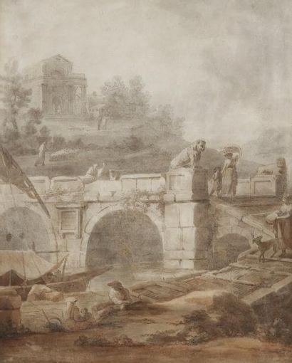 École FRANÇAISE du XIXe siècle, suiveur de Hubert ROBERT