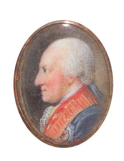Miniature sur ivoire, XVIIIe siècle, représentant...