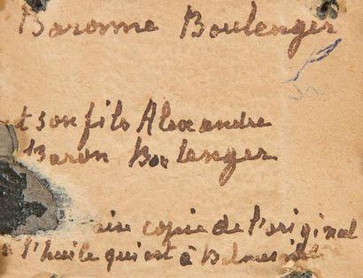 Portrait de femme assise, dite Baronne Boulenger, tenant le portrait de son fils...