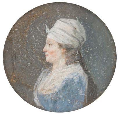THEBAUT (actif en 1784 – 1804) Homme et Femme de profil en pendants, lui vers la...