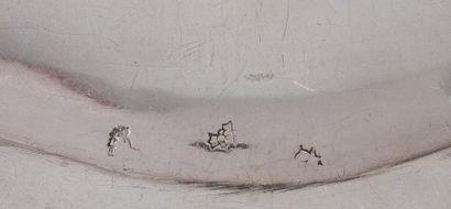 Ensemble de salières double cristal argent et leurs deux moutardiers, à décor ajouré...
