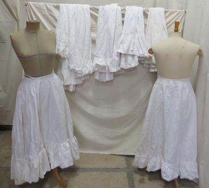 Six jupons en coton pour femme, style XIXe...