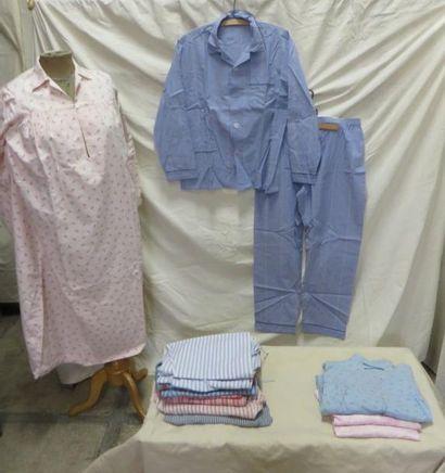 Lot comprenant huit bas de pyjama et un complet...