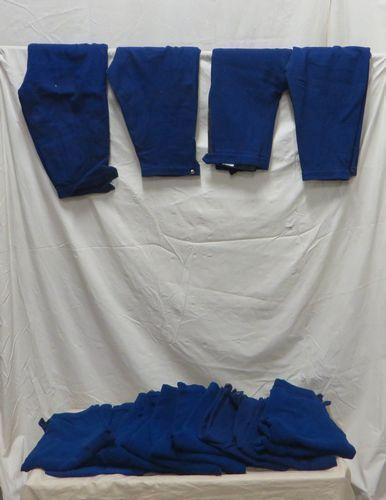 Une quinzaine de culottes bleues en coton...