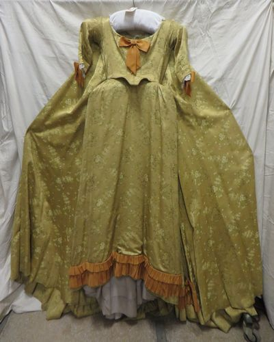 Robe en satin broché pour femme, style XVIIIe...