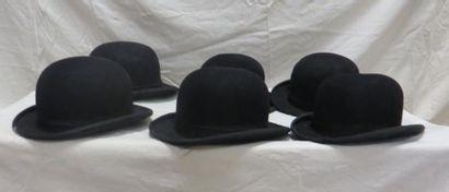 Six chapeaux melon noirs pour homme, style...