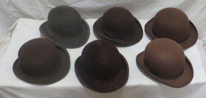 Six chapeaux melon marron pour homme, style...