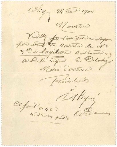 Vitalie RIMBAUD, née Cuif (1825-1907) mère du poète L.A.S. «Rimbaud», Attigny 28...
