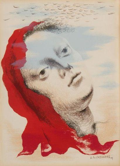 ADOLPHE MOURON CASSANDRE (1901-1968) Marianne, 1939 Lithographie rehaussée de gouache...