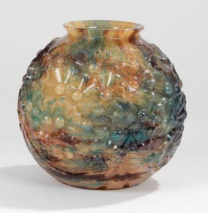 TRAVAIL ART DECO Vase boule à col légèrement...