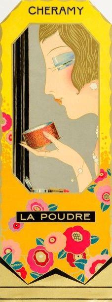 ANONYME Cheramy, L'Eau de Cologne - La Poudre 2 affichettes. 46.5 x 17 cm chaque