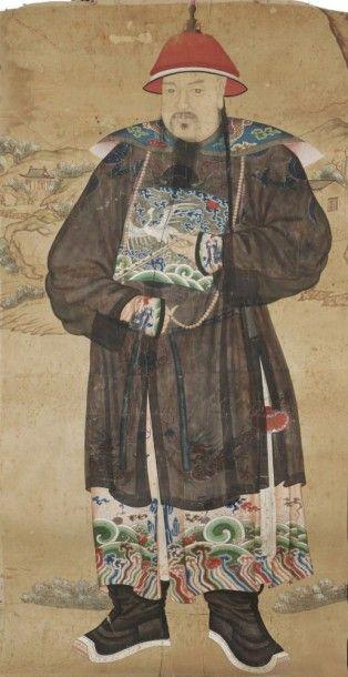 CHINE - XIXe siècle Encre sur papier, portrait en pied d'un mandarin du rang civil...