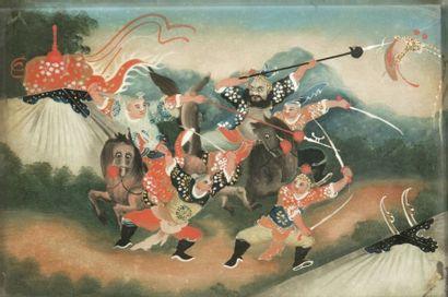 CHINE - Début XXe siècle Peinture fixée sous verre, représentant des guerriers à...