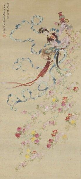 CHINE - MILIEU XXE SIÈCLE Encre sur soie, jeune femme versant un panier rempli de...