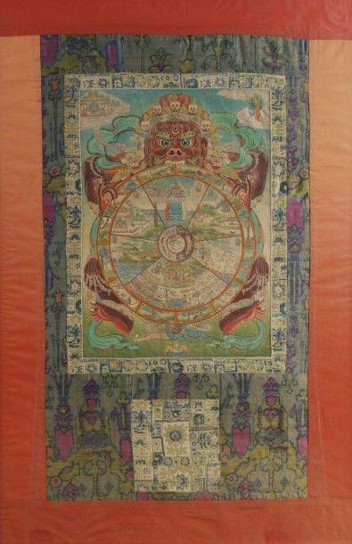 TIBET - XIXE SIÈCLE Mandala, détrempe sur toile, représentant des scènes de la vie...