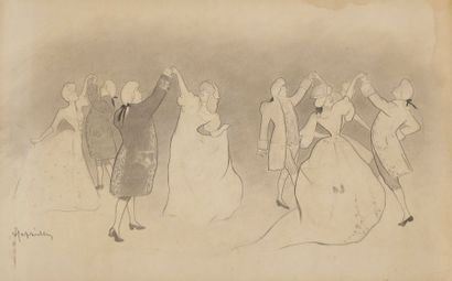 Leonetto CAPPIELLO (1875-1942) Au bal Dessin à la mine de plomb et estompe. Signé...