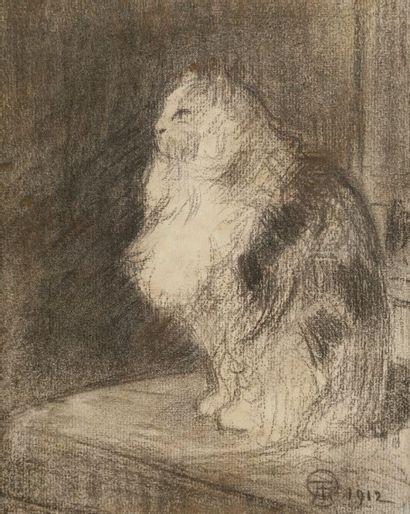 Théophile-Alexandre STEINLEN (1859-1923) Chat, 1912 Dessin au fusain. Monogrammé...