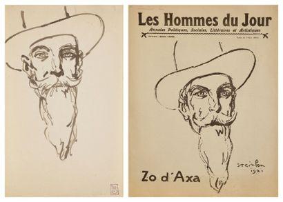 Théophile-Alexandre STEINLEN (1859-1923) Portrait de Zo d'Axa, 1921 Lavis d'encre...