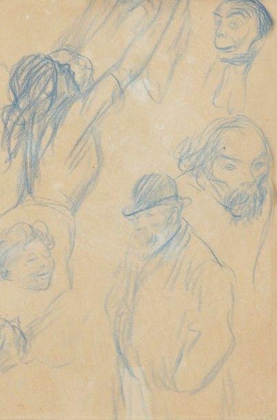 Théophile-Alexandre STEINLEN (1859-1923) Femme et enfant - Étude de personnages Dessin...