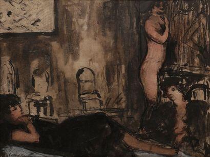 Luc-Albert MOREAU (1881-1948) Maison close Dessin à l'encre, lavis et aquarelle....