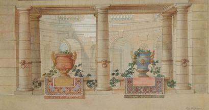 Eugène LEDOUX (1841-?) Architecture, 1897 Aquarelle. Signée et datée en bas à droite....