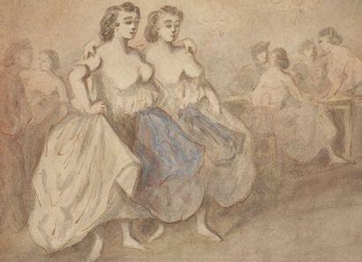 CONSTANTIN GUYS (1802-1892) Deux grisettes Aquarelle sur vélin collé sur carton....