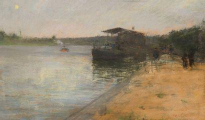 Siebe Johannes TEN CATE (1858-1908) Bords de Seine Pastel sur papier contrecollé...