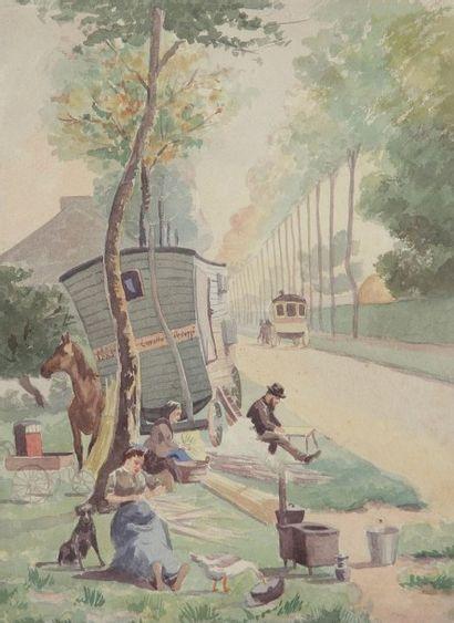 Émile-Gustave CAVALLO-PEDUZZI (1851-1917) Rempailleurs et roulotte à Lagny Aquarelle....