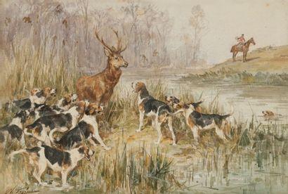 Charles-Olivier de PENNE (1831-1897) Scène de chasse à courre Aquarelle. Signée en...