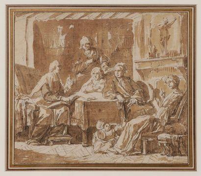 Attribué à Gabriel de SAINT-AUBIN<BR>(1724-1780)