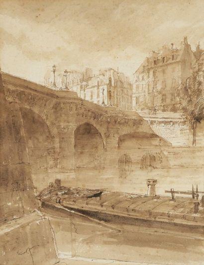 François-Victor SABATIER (1823-1891) Paris, pont sur la Seine Dessin à l'encre et...